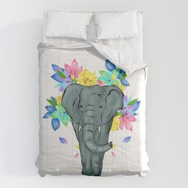 Cute elephant with flowers Comforters