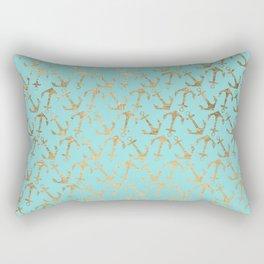 Modern teal faux gold nautical elegant anchor Rectangular Pillow