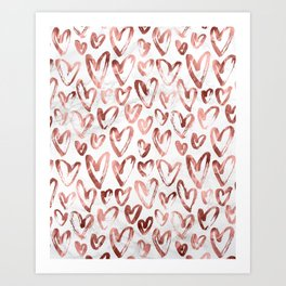 Rose Gold Love Hearts on Marble Art Print