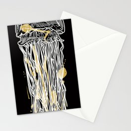 Electric Gold Jellyfish Duo Stationery Cards