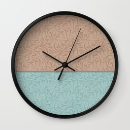 Combo beige turquoise abstract pattern . Wall Clock