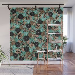 Black Brown and Teal Watercolor Floral Wall Mural