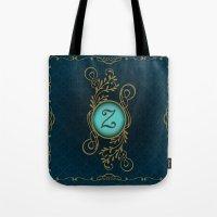 monogram Tote Bags featuring Monogram Z by Britta Glodde