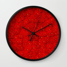 red daisy flowers Wall Clock