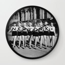 New York Girls in a line, lovely girls on the street - mid century vintage photo Wall Clock