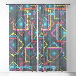 Bright rhombuses and squares with blue highlights in the intersection on a dark background. Sheer Curtain