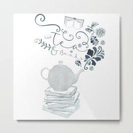 Tea and Books Metal Print