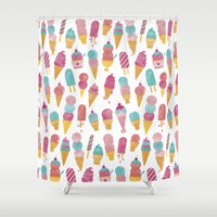 ice cream Shower Curtains featuring Ice Cream by Jacqui Lee