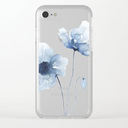 Blue Watercolor Poppies Clear iPhone Case