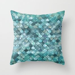 Mermaid Scales Aqua Turquoise Mermaid Pattern Throw Pillow