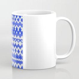 Ikat Pattern in Cobalt Blue & White Coffee Mug