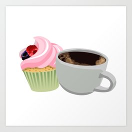 cupcakes and coffee Art Print