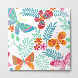 Festive, Colorful Butterfly and Floral Garden Metal Print
