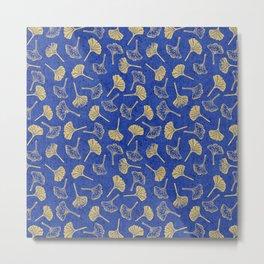 Ginkgo Biloba linocut pattern GLITTER GOLD DEEP BLUE Metal Print
