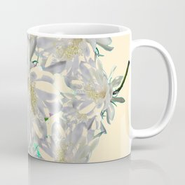 WHITE  NIGHT BLOOMING TROPICAL CEREUS  ON CREAM ART Coffee Mug