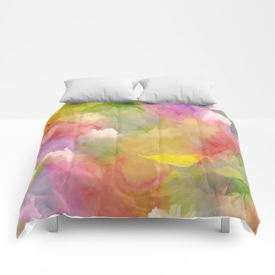 Rainbow Watercolor Floral Abstract Comforters