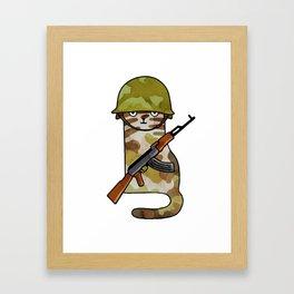 Infantry Fighter Cat Framed Art Print