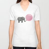 face V-neck T-shirts featuring Jumbo Bubble Gum  by Terry Fan