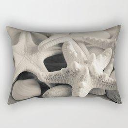 White Starfish Black and White Rectangular Pillow