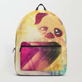 Kawaii pug flying in a cup lightings and starry texture Backpack