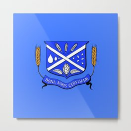 Give Us Beer College Emblem with Latin Script Metal Print