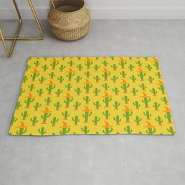 Cactus Pattern With Mexican Hat Rug