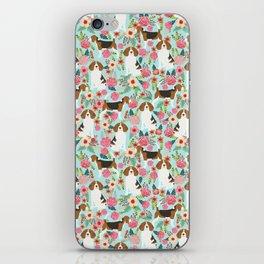 Beagle Floral dog design cute florals beagle phone case beagle pillows iPhone Skin