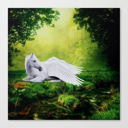 Pegasus By The Stream Canvas Print