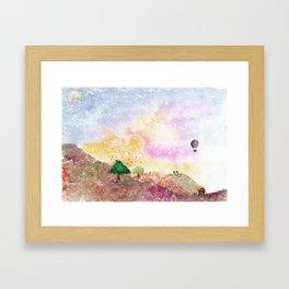 Mystical Landscape Watercolor. Framed Art Print
