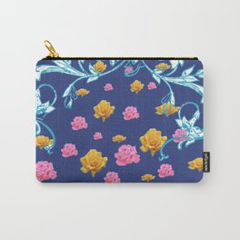 YELLOW  & PINK ROSES BLUE MODERN  ABSTRACT Carry-All Pouch