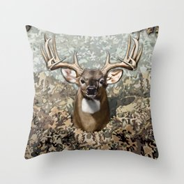 Whitetail Buck and Camo Throw Pillow