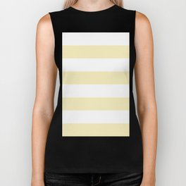 Wide Horizontal Stripes - White and Blond Yellow Biker Tank