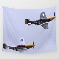 mustang Wall Tapestries featuring Mustang P51 Flight by Premium