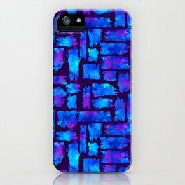 Blue watercolor brush iPhone Case