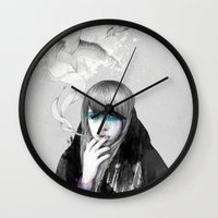 swan Wall Clocks featuring Swan Love by Ariana Perez