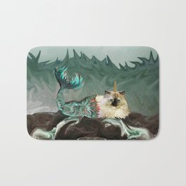 Behold the Mythical Merkitticorn - Mermaid Kitty Cat Unicorn Bath Mat