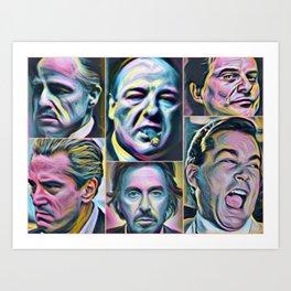 Gangsters painting movie Goodfellas Godfather Casino Scarface Sopranos Art Print