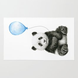 Panda Baby Animal with Blue Balloon Rug