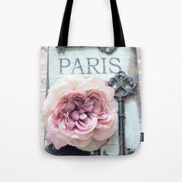 Paris Roses Skeleton Key Art  Tote Bag