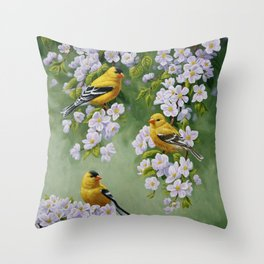 Goldfinches and Spring Apple Blossoms Throw Pillow