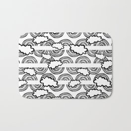 Rainbow Waves-  Black and White - Colour Your Way Bath Mat