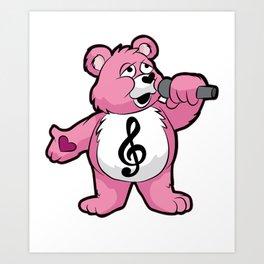 SINGING TEDDY Singer Chorus Acapella Microphone Art Print