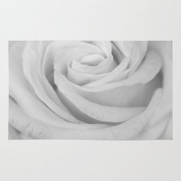 Single white rose close up Rug
