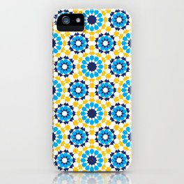 Moroccan pattern in Royal Gold and Bright Sky Blue. iPhone Case