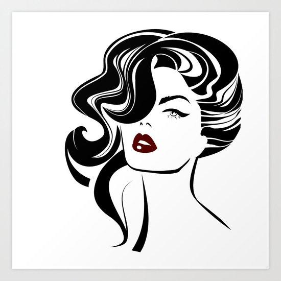 Beautiful woman face Art Print