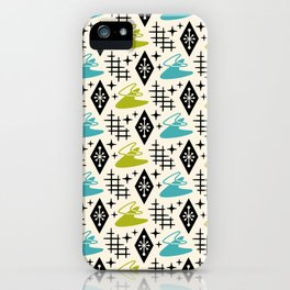 Mid Century Modern Space age Boomerang Pattern Chartreuse and turquoise 121 iPhone Case