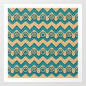 Chevrons and Sprockets - Blue-Green and Gold Repeating Pattern by rmlstudios