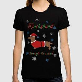 Dachshund through the snow - santa T-shirt