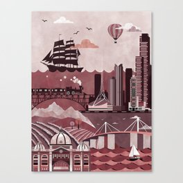 Melbourne Travel Poster Illustration Canvas Print