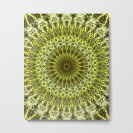 Golden, yellow and green mandala Metal Print